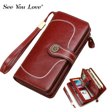 New Long Zipper Genuine Leather Wallet Woman Purse Girl Red Fashion Card Holder Clutch Female Wallets Women Purses Phone Pocekt