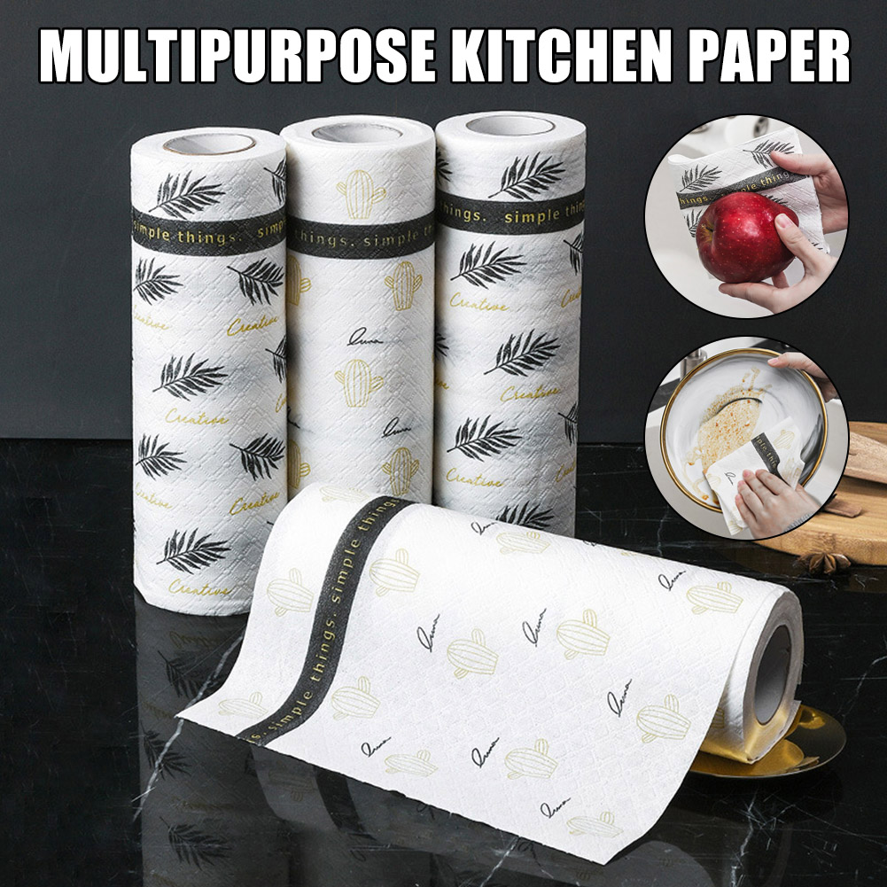 Kitchen Paper Towel Wet Dry Use Cleaning Cloth Reusable Strong Oil-absorbing Tissue A66