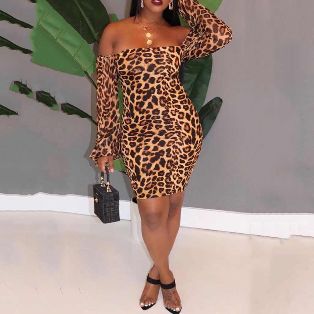 Sexy Leopard Printed Off Shoulder Short Party Dress African Ladies Bodycon Backless Club Wear Vintage Long Sleeve Mini Dress