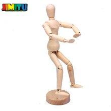 JIMITU Houten Jointed Doll 14/20CM Body Action Figure Model Poppen Schilderen Schets Cartoon Blok Hoofd Jointed Model marionet