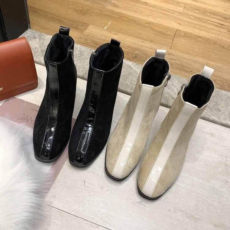 Calor en invierno felpa corta señoras de las mujeres de cuero de gamuza tobillo botas cremalleras Med Chunky tacones zapatos de mujer botas Martin botas Bottine C100