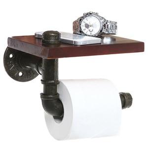 Image 2 - Bathroom Shelves Industrial Retro Iron Toilet Paper Holder Bathroom Hotel Roll Paper Tissue Hanging Rack Wooden Shelf Holder