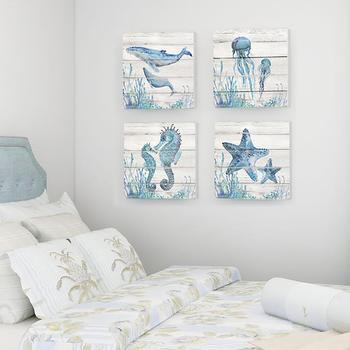 Marine Elements Series Whale Jellyfish Seahorse Starfish Living Room Decoration Painting Canvas Poster Wall Art Home