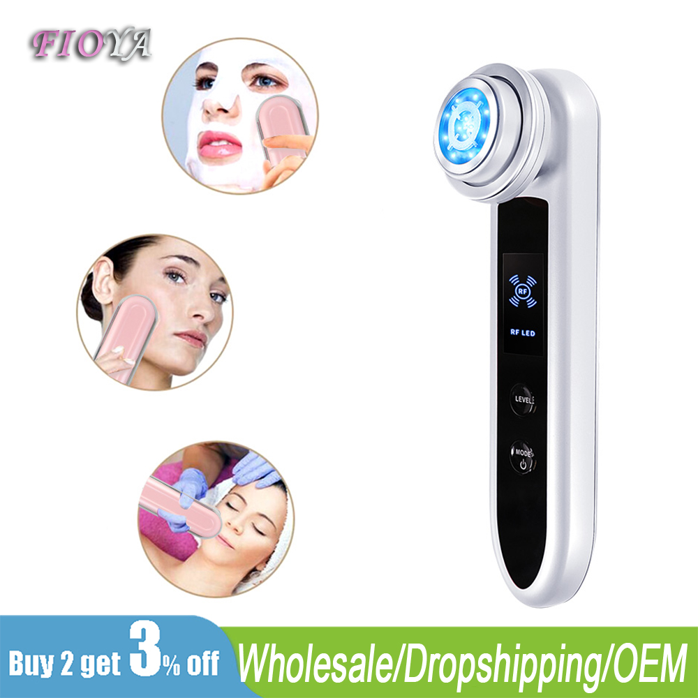 Face RF Radio Frequency Massager Acne Wrinkle Remover EMS Muscle Stimula V-Shaped Face Lifting Massager LED Phototherapy Device