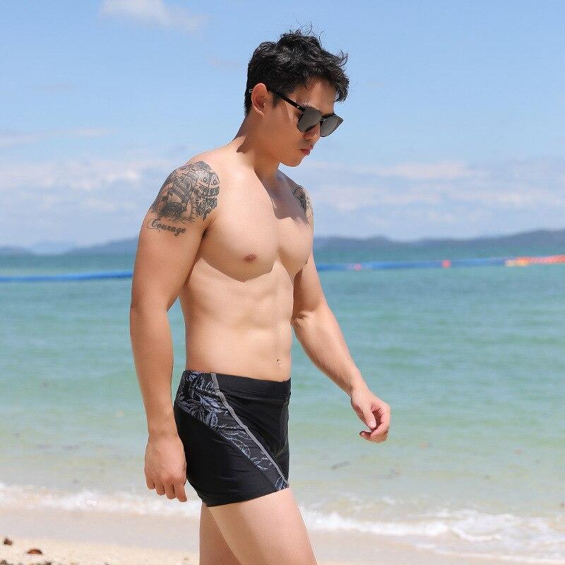 Swimming Trunks Men Boxer Short Swimming Trunks Sports Tight-Fit Comfortable Swimming Trunks Plus-sized Regulation Rope Pocket S