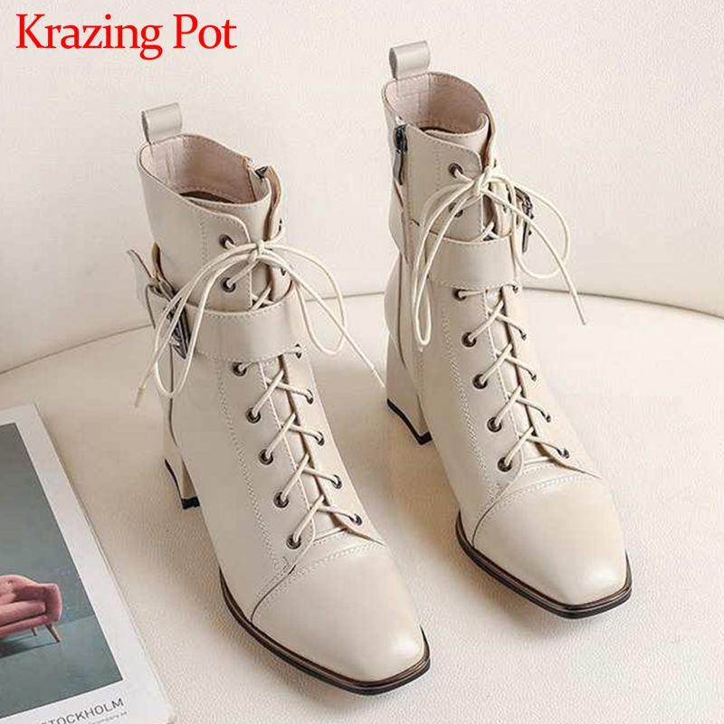 Krazing Pot office lady square toe genuine leather lace up belt  buckle high heels winter keep warm women black ankle boots L4f3Ankle  Boots