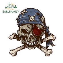 EARLFAMILY 13cm x Car Accessories Funny Pirate Skull Stickers Decals Window Bumper Rear Windshield Vinyl Decal