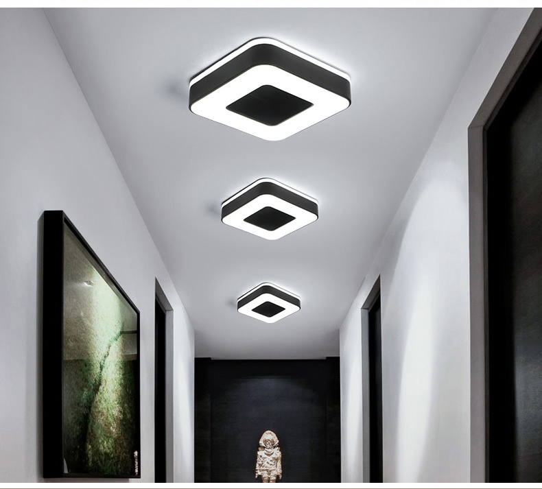 H89ed67af48244367be54b99dc327402cP Living Room Ceiling Lights | Drop Ceiling Lights | LED Ceiling Light Corridor Art Gallery Decoration Front Balcony Lamp Porch White Black Power 18W