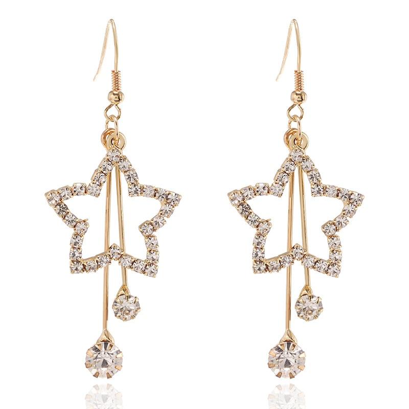 Korean Luxury Rhinestone Pentagram Long Tassel Drop Earrings For Women 2019 Statement Fashion Jewelry Oorbellen Aretes De Mujer