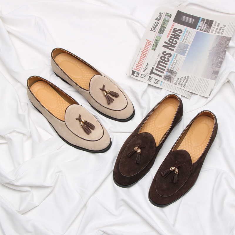 2019 New Style Italian Luxury Brand Tassel Man Leather Loafer Leather Casual Flats Round Toe Comfortable Office Men Dress Shoes-in Men's Casual Shoes from Shoes