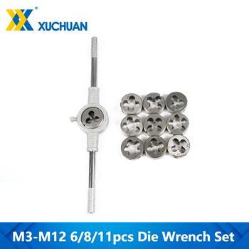 6 8 11 szt M3-M12 metryczny zestaw kluczy ręcznych zestaw gwintów zestaw gwintów gwintowanych tanie i dobre opinie xcan Metalworking Tap die set CN (pochodzenie) 6 8 11pcs Ze stali stopowej HS009013 Prawo