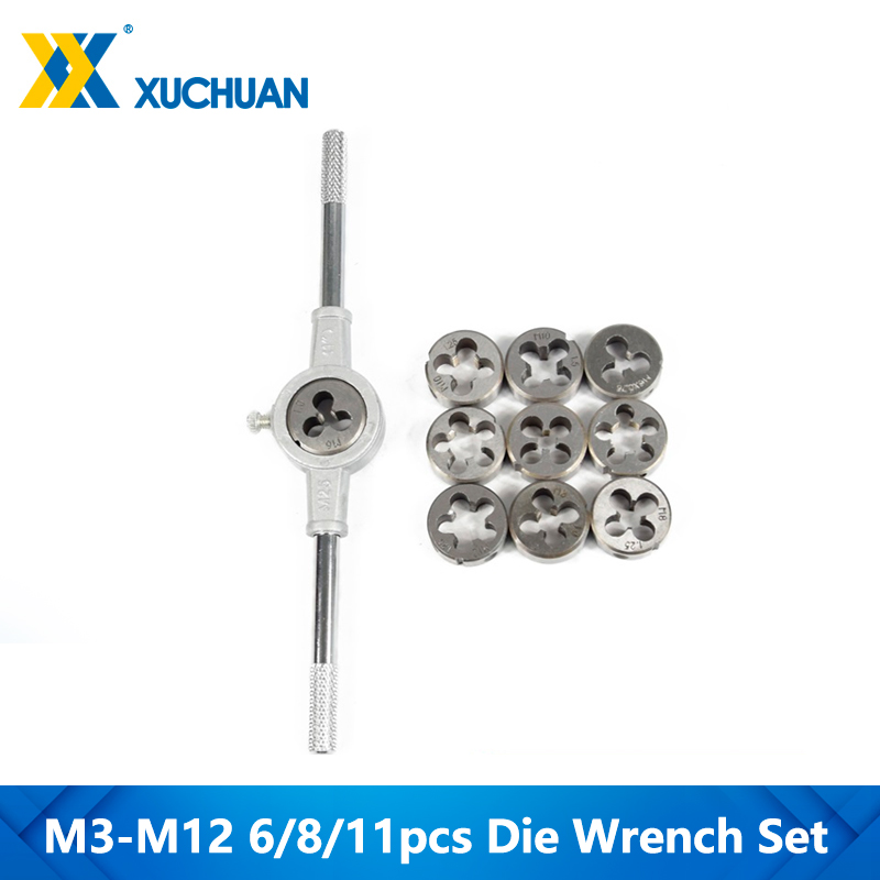 6/8/11pcs M3-M12 Metric Die Wrench Set  Hand Tapping Kit Screw Die Thread Die Set
