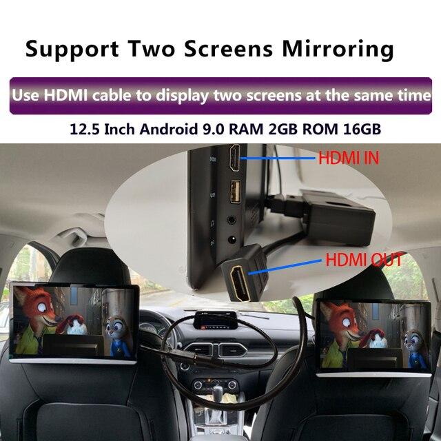 12.5 Inch Android 9.0 4K 1080P 1920*1080 Gối Tựa Đầu Xe Hơi Màn Hình Cảm Ứng Wifi/Bluetooth/ USB/Thẻ SD/HDMI/FM/Liên Kết/Miracast