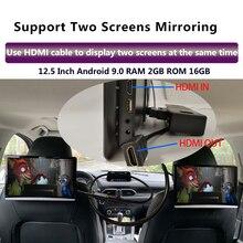 Monitor para reposacabezas de coche, pantalla táctil de 12,5 pulgadas, Android 9,0, 4K, 1080P, 1920x1080, WIFI, Bluetooth, USB, SD, HDMI, FM, mirrorlink, Miracast