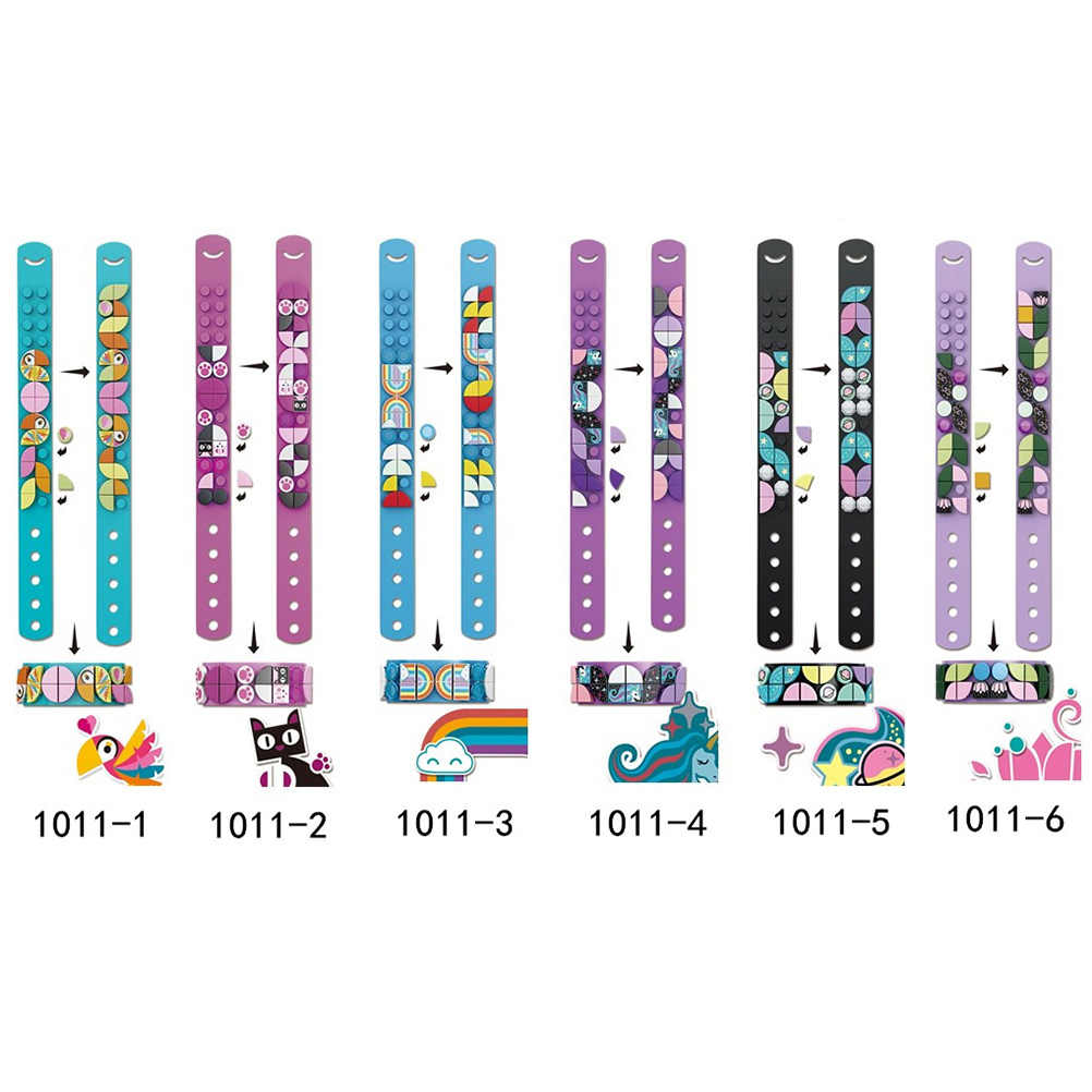 クリエイティブdiyのレンガ子供ブロックブレスレットリストバンド調整可能な長さの教育のビルディングブロックのおもちゃガールズボーイズギフト