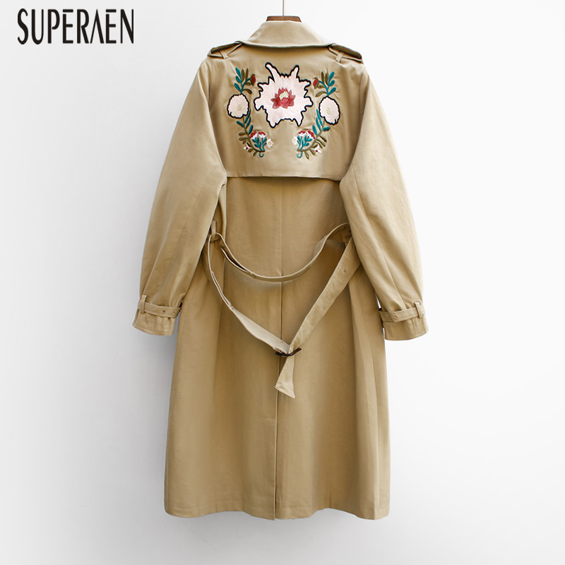 SuperAen 2019 Autumn New Embroidered Windbreaker Women Wild Casual Korean Style   Trench   Coat for Women Fashion Women Clothing
