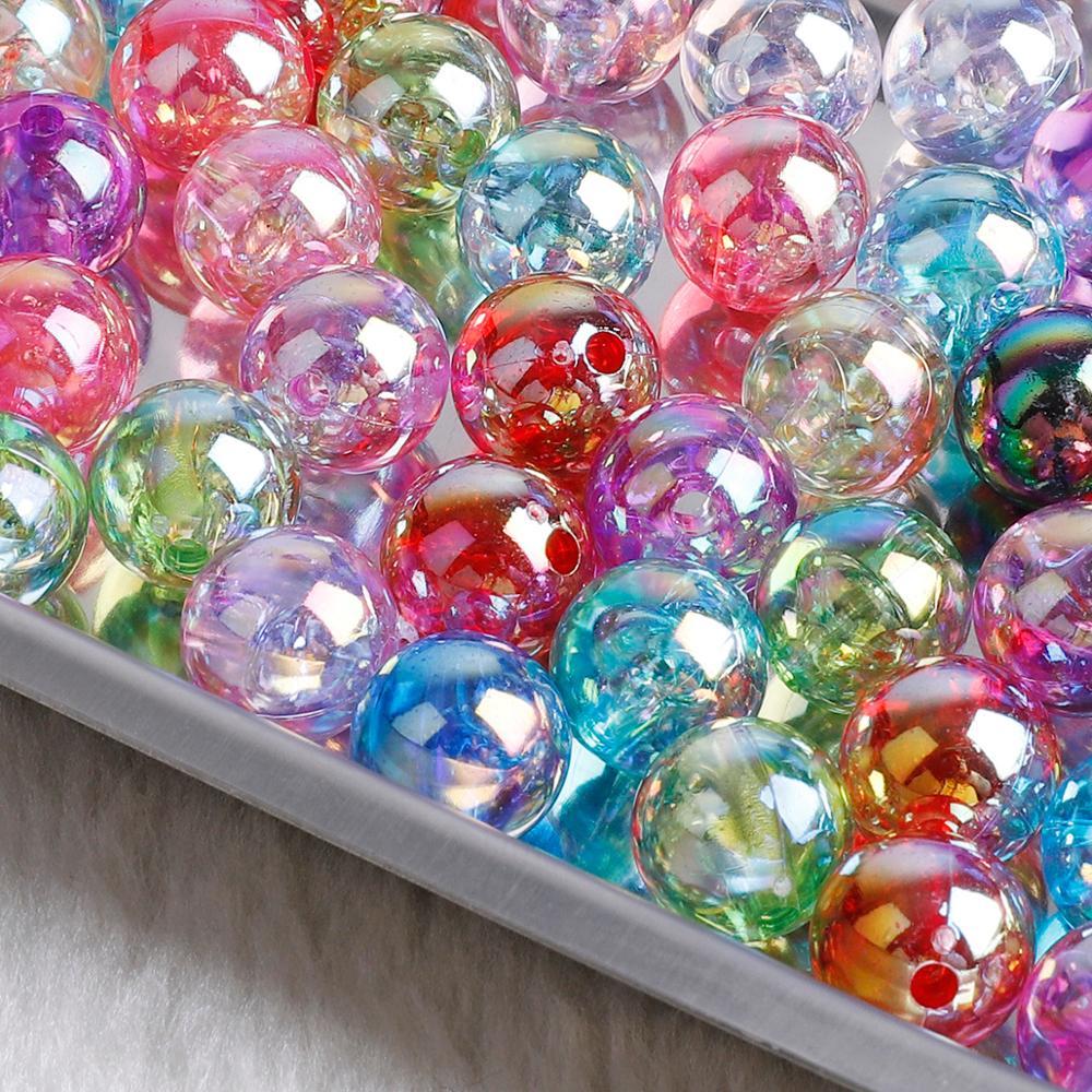 Cuentas de perlas acrílicas 50-100 Uds coloridas dobles 6/8/10mm, cuentas redondas sueltas para libro de manualidades artesanales de decoración