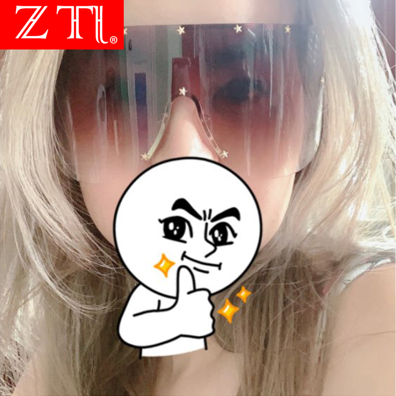 ZT One Piece Cover Women Sunglasses Steampunk Five-Points Star Oversize Glasses Champagne Windproof Rimless Shades Men