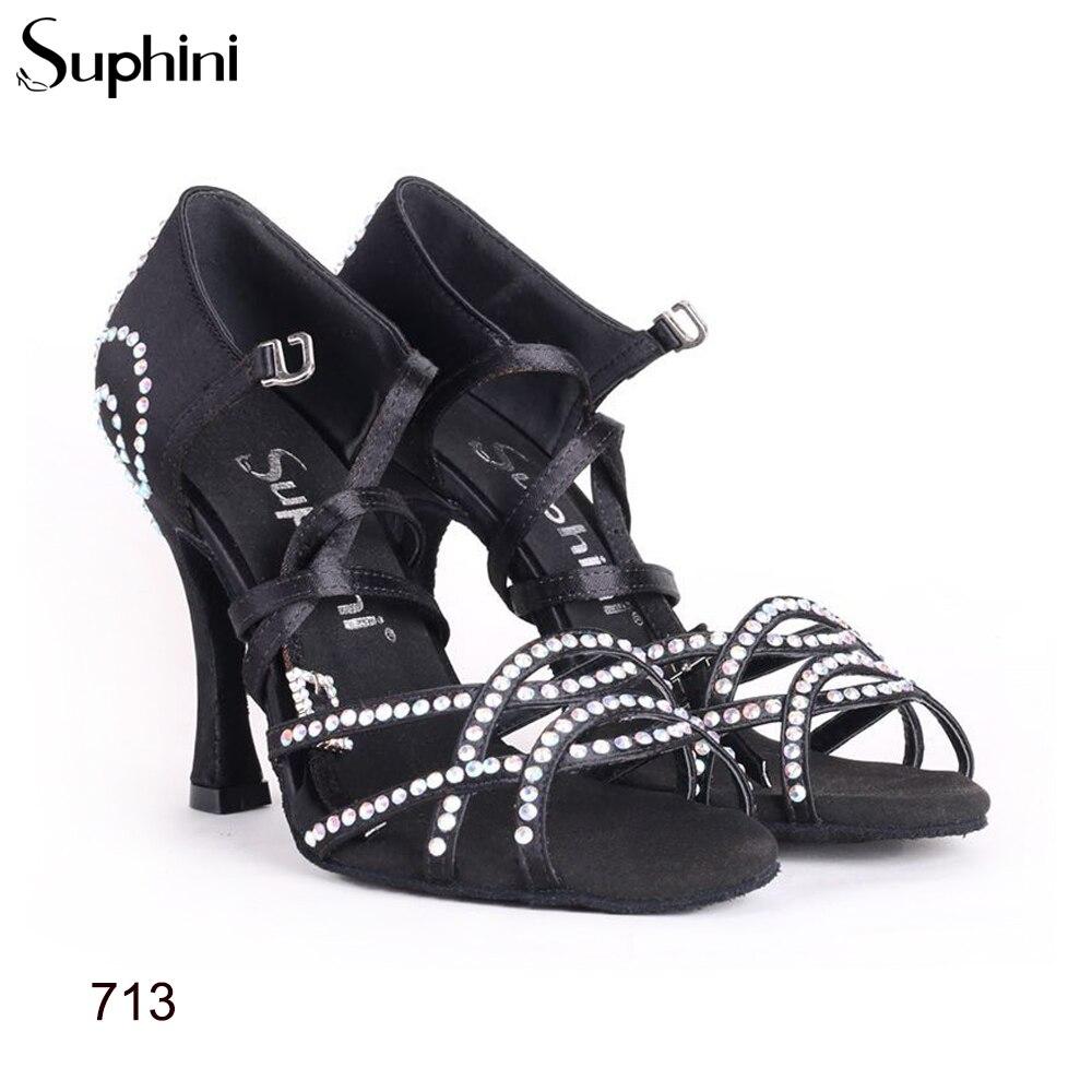 Free Shipping 2017 Suphini High Heel Latin Dance Shoes Woman Black Salsa Dance Shoes
