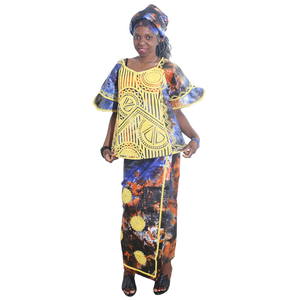 Image 1 - MD african clothes for women skirt short rapper with scarf suit embroidery african style 2019 south africa lady dashiki clothing