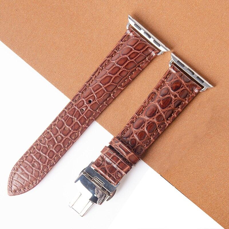 Bracelet en cuir de Crocodile marron véritable de haute qualité pour montre Apple 5 4 3 2 44mm 40mm bracelet Alligator iWatch avec boucle papillon