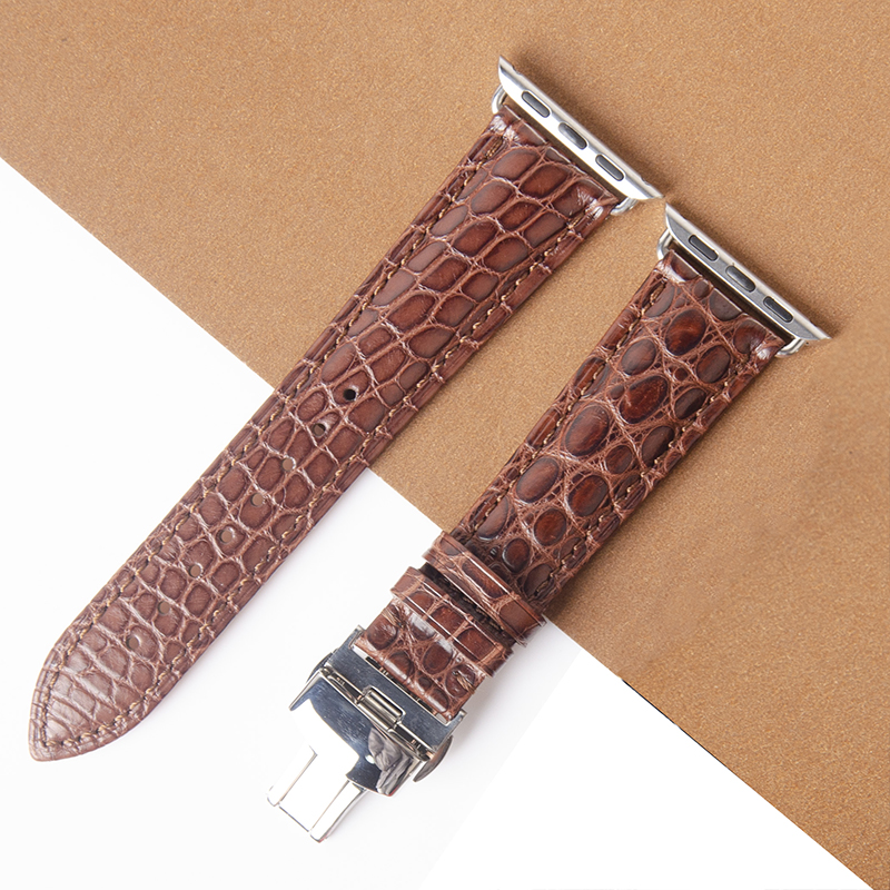 High Quality Genuine Brown Crocodile Leather Band for Apple Watch 5 4 3 2 44mm 40mm iWatch Alligator Strap with Butterfly Buckle