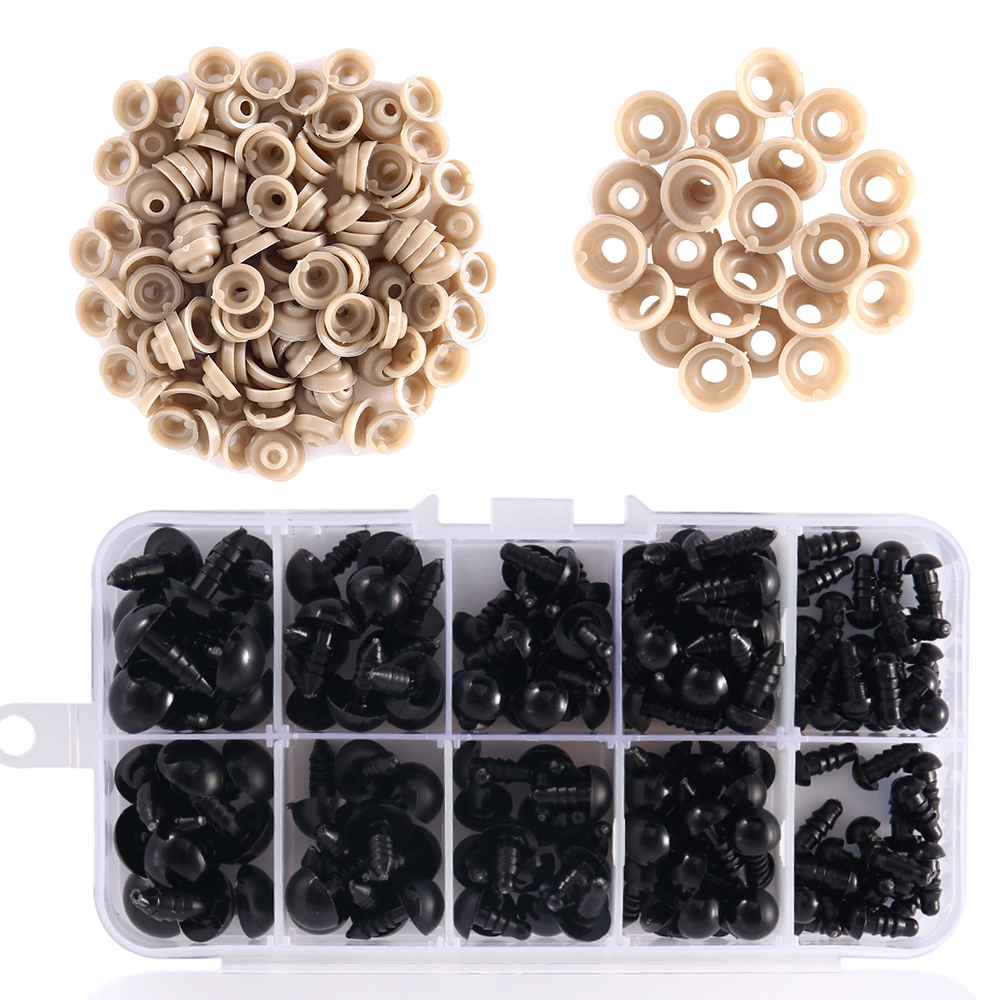 150PCS 6/8/9/10/12mm Black Plastic Round Eyes Nose Doll Safety Eyes Suitable For Teddy Bear Plush Toys DIY Doll Accessories