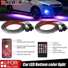 Bande lumineuse RGB sous châssis Automobile, 4 pièces, lumière néon, Flexible, contrôle à distance/application