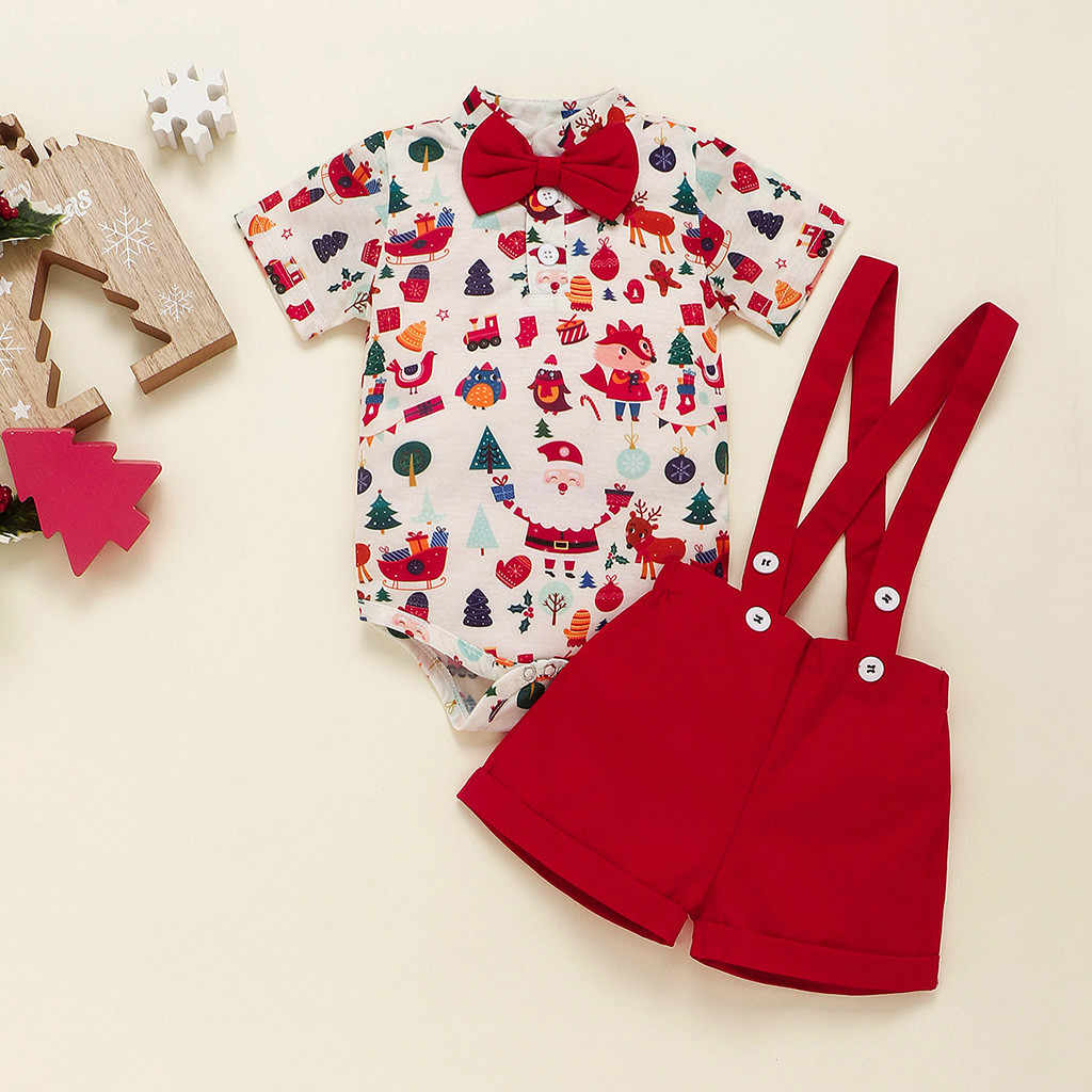 Infant Baby Girl Boy Christmas Cartoon Print Romper Suspender Trousers Outfits