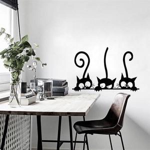 3D виниловая настенная наклейка из ПВХ, 3 черных кота, съемные обои, сделай сам, водонепроницаемая наклейка для детского декора комнаты