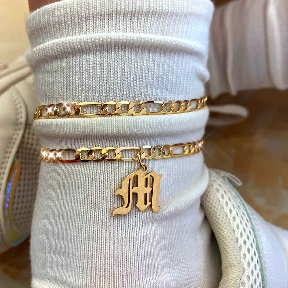 Flatfoosie A-Z Letter Initial Anklets Bracelet For Women Gold Color Alphabet Anklet Boho Summer Beach Barefoot Foot Jewelry Gift
