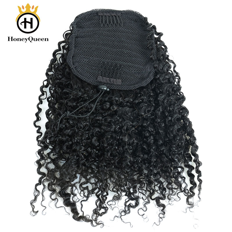 3B 3C Kinky Curly Clip In Ponytail Human Hair Extensions Brazilian Hair Products Drawstring Ponytail Natural Color Remy Hair