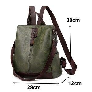 Image 2 - Zaino da donna in pelle PU con zaino da scuola in tinta unita semplice zaino da donna in pelle PU per borse da donna