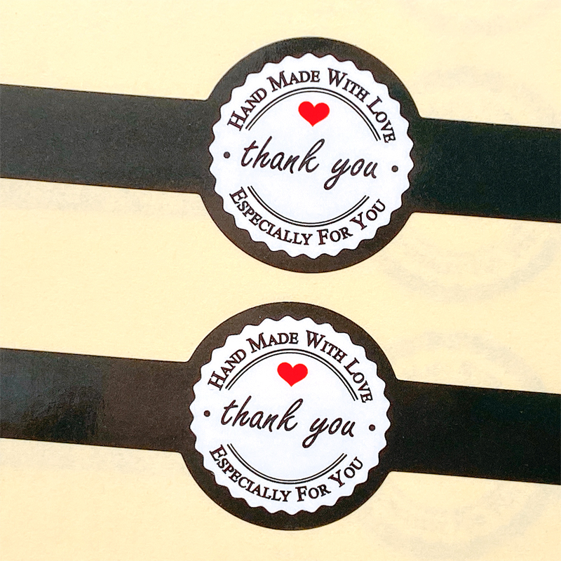 Kraft handmade with red love Sticker For DIY Gift //Cake Baking Sealing Sticker