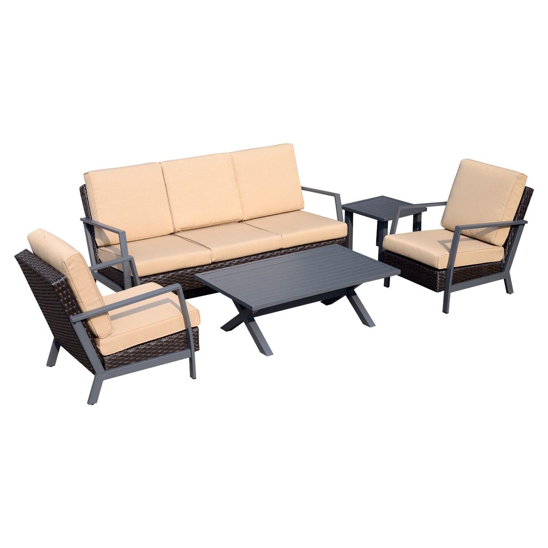Outsunny 5 шт наружный домашний декор с подушками из ротанга Комплект уличной мебели коричневый