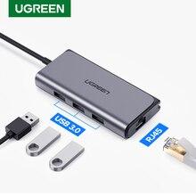 Ugreen USB C концентратор Ethernet USB C для нескольких USB 3,0 RJ45 сетевой адаптер док станция для MacBook Pro USB3.0 3,1 сплиттер порт Type C концентратор