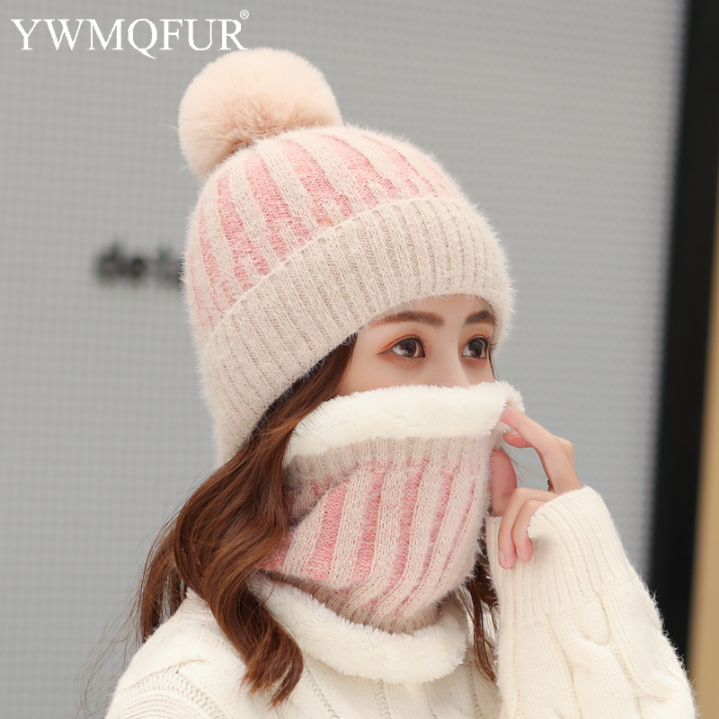 Winter Imitation Mink Stripe Women's Hat Scarf Sets Female Beanies Caps With Artificial Fox Fur Pompom Thick Warm Lady Hats