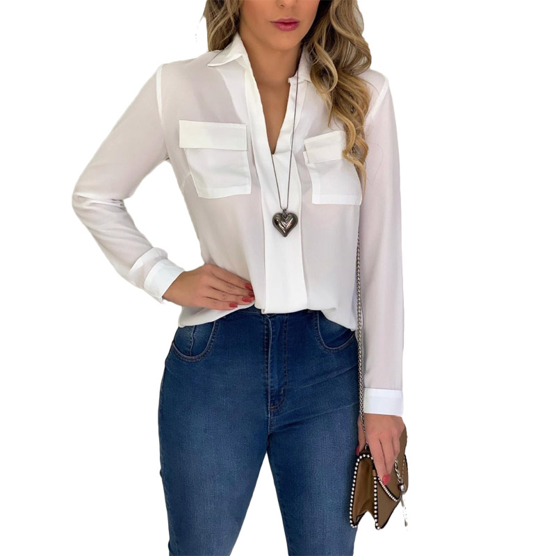 Summer White Chiffon Blouse Women 2020 Long Sleeve V-neck Pockets Womens Tops And Blouses Blusas