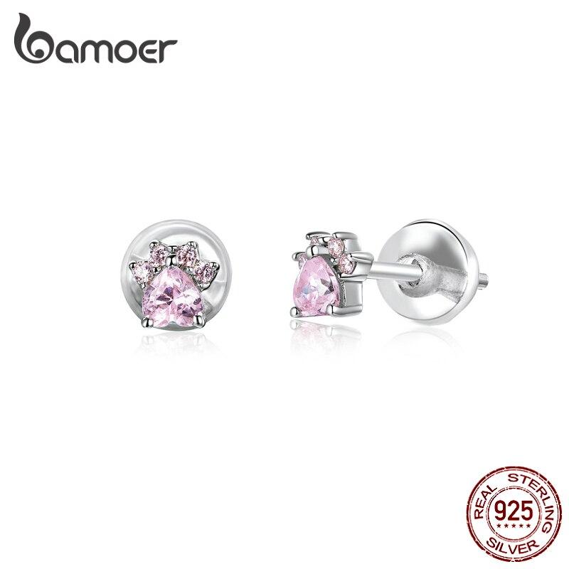 Bamoer Sterling Silver 925 Jewelry Pink CZ Cat Paw Stud Earrings For Women Cute Anti-allergy Ear Studs For Girl Kids SCE781