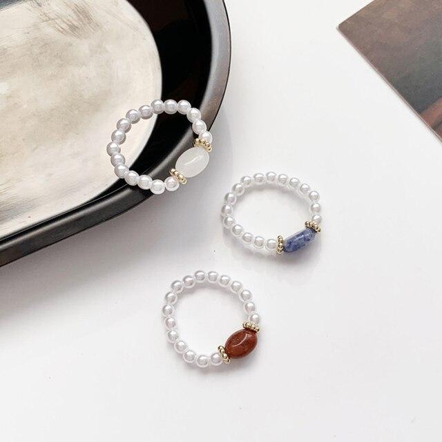 Elegancka imitacja perły koralik kamień elastyczne pierścienie dla kobiet Midi Finger Knuckle pierścień moda Vintage regulowana biżuteria prezenty