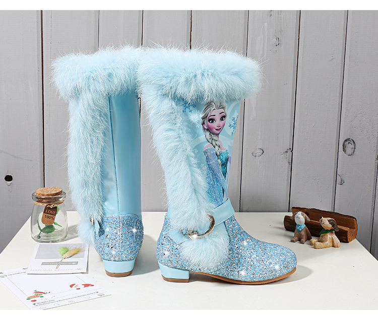 H89ef0775016f42b99970fb03f590213bI - Elsa princess kids high boots new winter girls boots Brand Children's over the knee boots for girls snow shoes pink blue