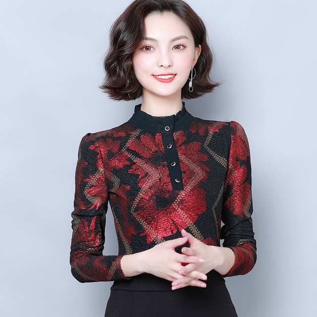 Women Blouses 2019 Autumn Fashion Print Womens Tops and Blouses Long Sleeve Stand Collar Plus Size Women Shirts Blusas Mujer 4