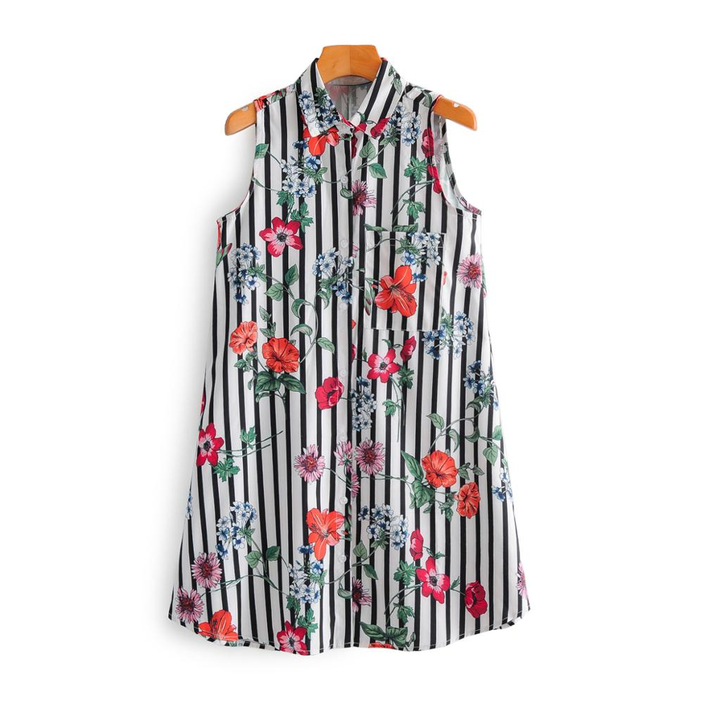 New 2020 women fashion flower print striped shirt dress chic women sleeveless vest vestidos casual straight mini dresses DS3683