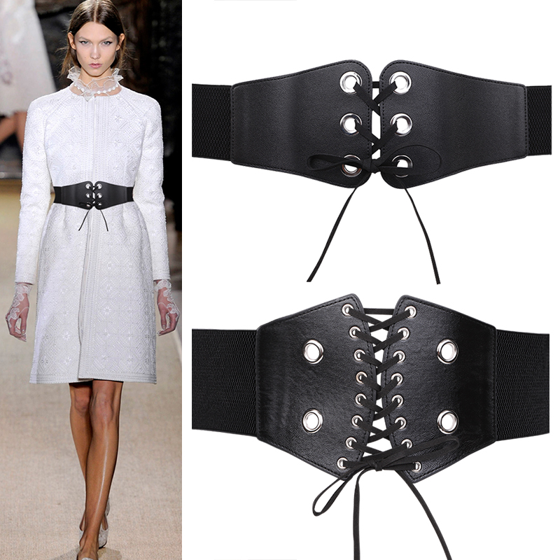 Fashion Self Tie Bow Wide Belts Lady Elastic Slim Corset Body Shaper Black Faux Leather Punk Silver Rivet Waistbands Cummerbund