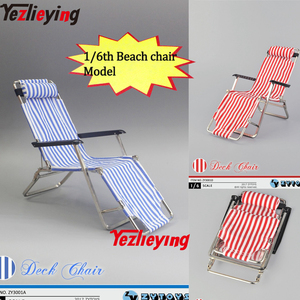 ZY Toys Dollhouse Miniature 1/6 Scale Action Figures Acessories Blue/Red Model Folding Beach Chair For 12''Toys Dolls Body Gift