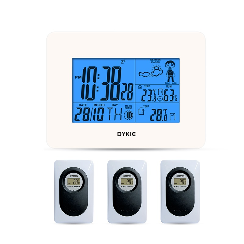 DYKIE Childrens clock Alarm Temperature and humidity digital Wireless weather station sensor