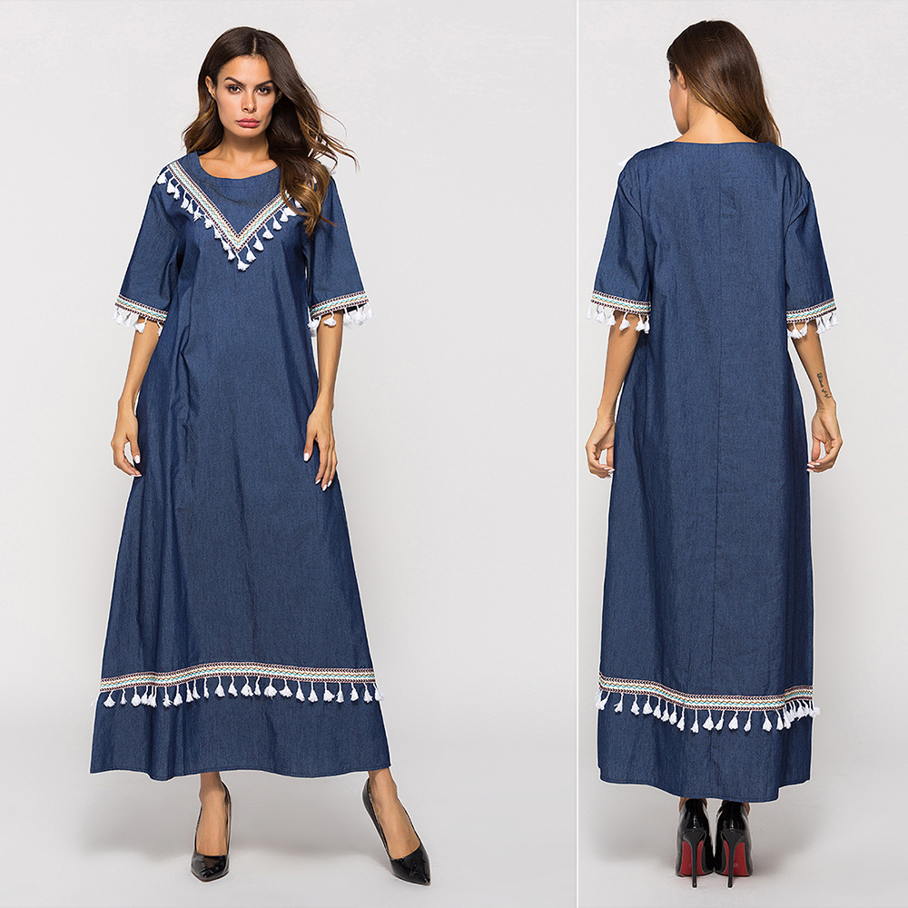 Europe And America Spring New Style, Hot Sales Loose-Fit Denim Blue Long Dress