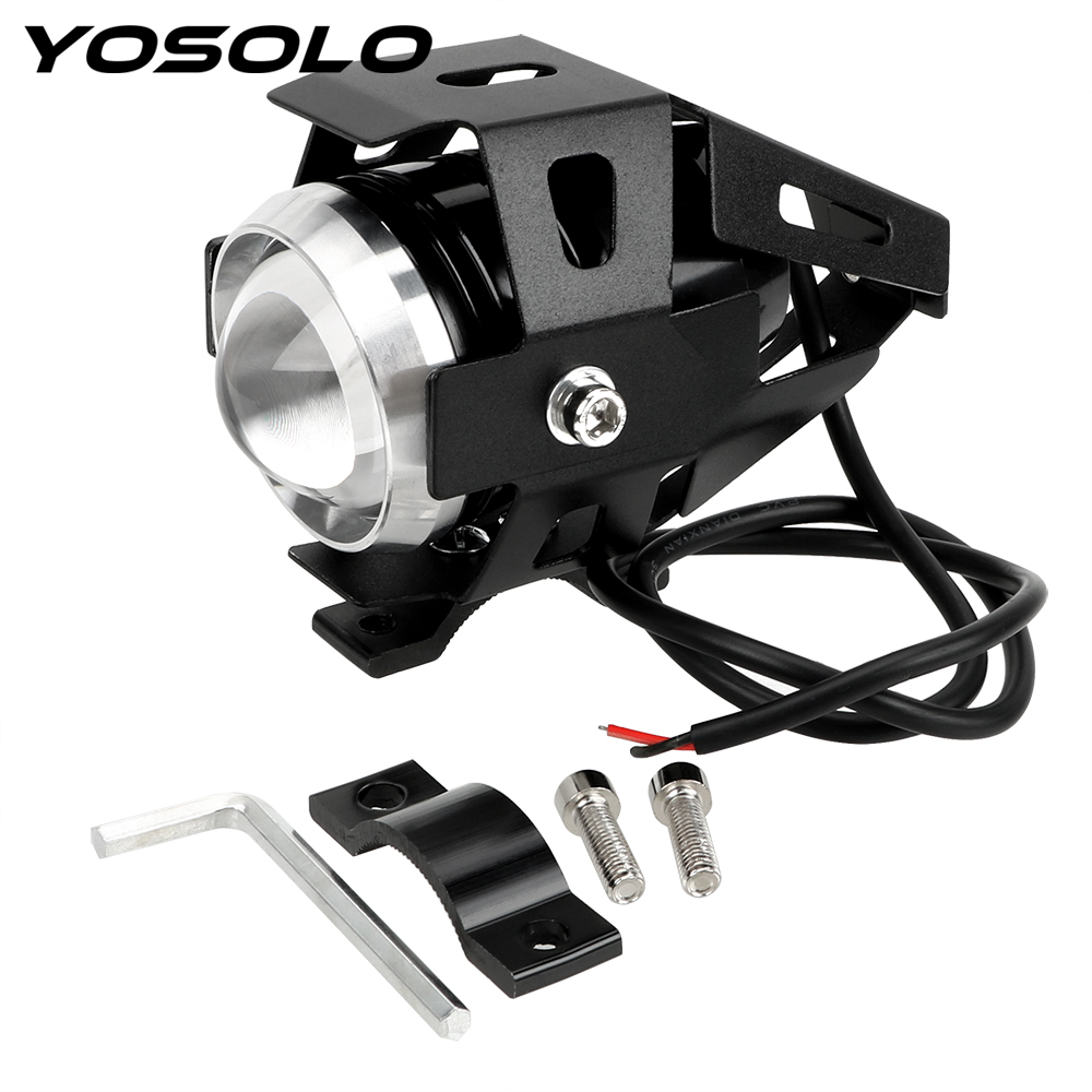 YOSOLO Motorcycle Motorbike Headlight 3000LMW Upper Low Beam & Flash U5 LED Driving Fog Spot Head Light Lamp