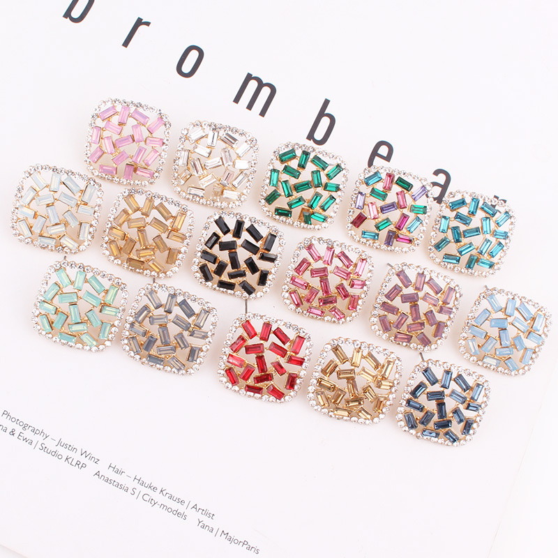 LUBOV Summer New Style Rhinestone Rainbow ZA Stud Earrings For Women Wedding Party Holiday Gift Jewellery wholesale Valentine's