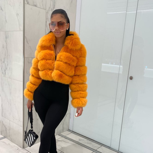 Image 5 - Damski Top Quality prawdziwy lis kurtki futrzane zimowy gruby krótki płaszcz puszysty płaszcz z pełnym rękawem miękki ciepły S7636